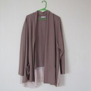 LOGO Lounge Open-front Knit Cardigan, 3X